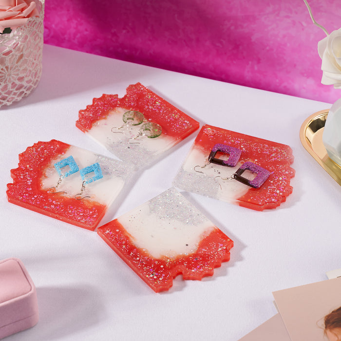 LET'S RESIN Puzzle Agate Coaster Resin Molds, Geode Agate Slice Molds Six Cut, Silicone Molds