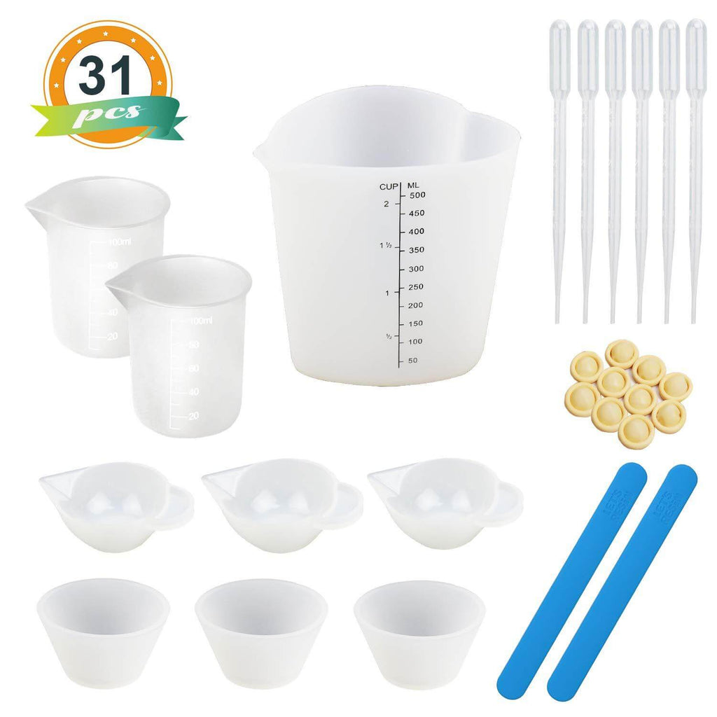 A3 Large Silicone Sheet 19 Pieces Resin Tools Set Silicone Mixing Cups 100 ml Measuring Cups Silicone Brushes Stir Sticks Mixing Spoons for Epoxy Resin Crafts Painting Blue