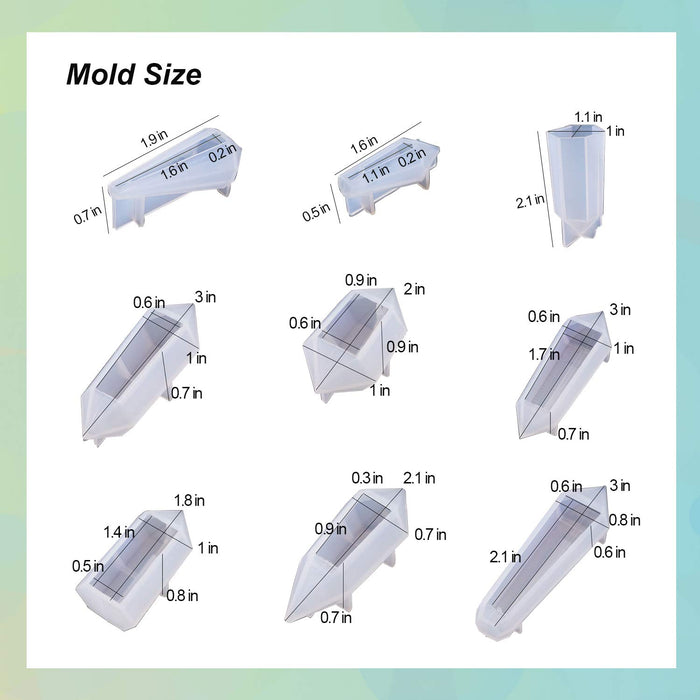18Pcs Silicone Resin Pendulum Molds Quartz Crystal Resin Jewelry Molds Multi-Facet Gemstone Pendant Mold