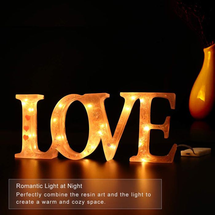 Love Sign Molds Resin Molds for DIY Table Decoration with Fairy String Light