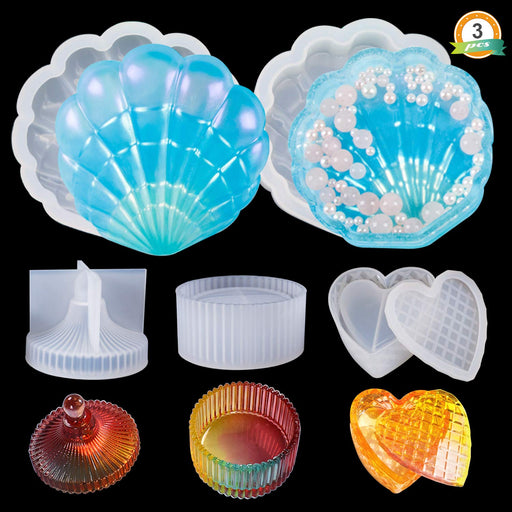 LET'S RESIN Silicone Box Molds with Shell Resin Mold, Heart Epoxy Mold, Round Mold, Resin Silicone Molds