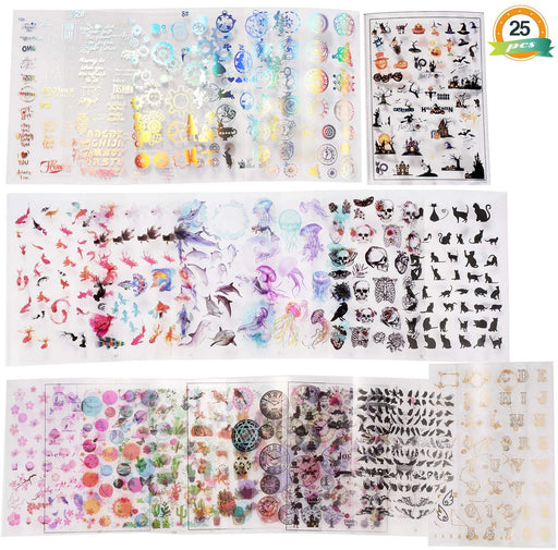 LET'S RESIN 25 Sheets Resin Art Supplies Kit, Transparent Decorate Stickers for Silicone Resin Molds