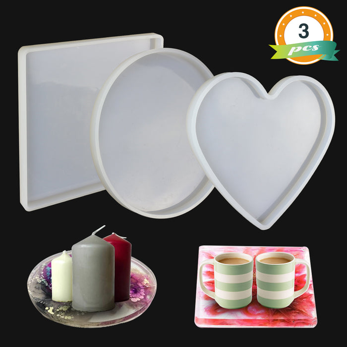 Large Resin Molds , 3 Pcs Large Tray Molds including Round, Square, Heart Shape