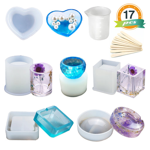 Resin Molds Kit Include Round/Square/Cylinder/Small Bowls for Ashtray/Pen Holder