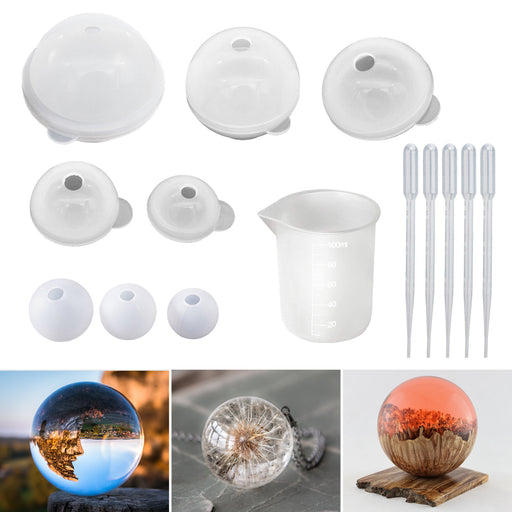 Sphere Resin Mold 8PCS Round Silicone Mold for Resin Jewelry, Soap DIY
