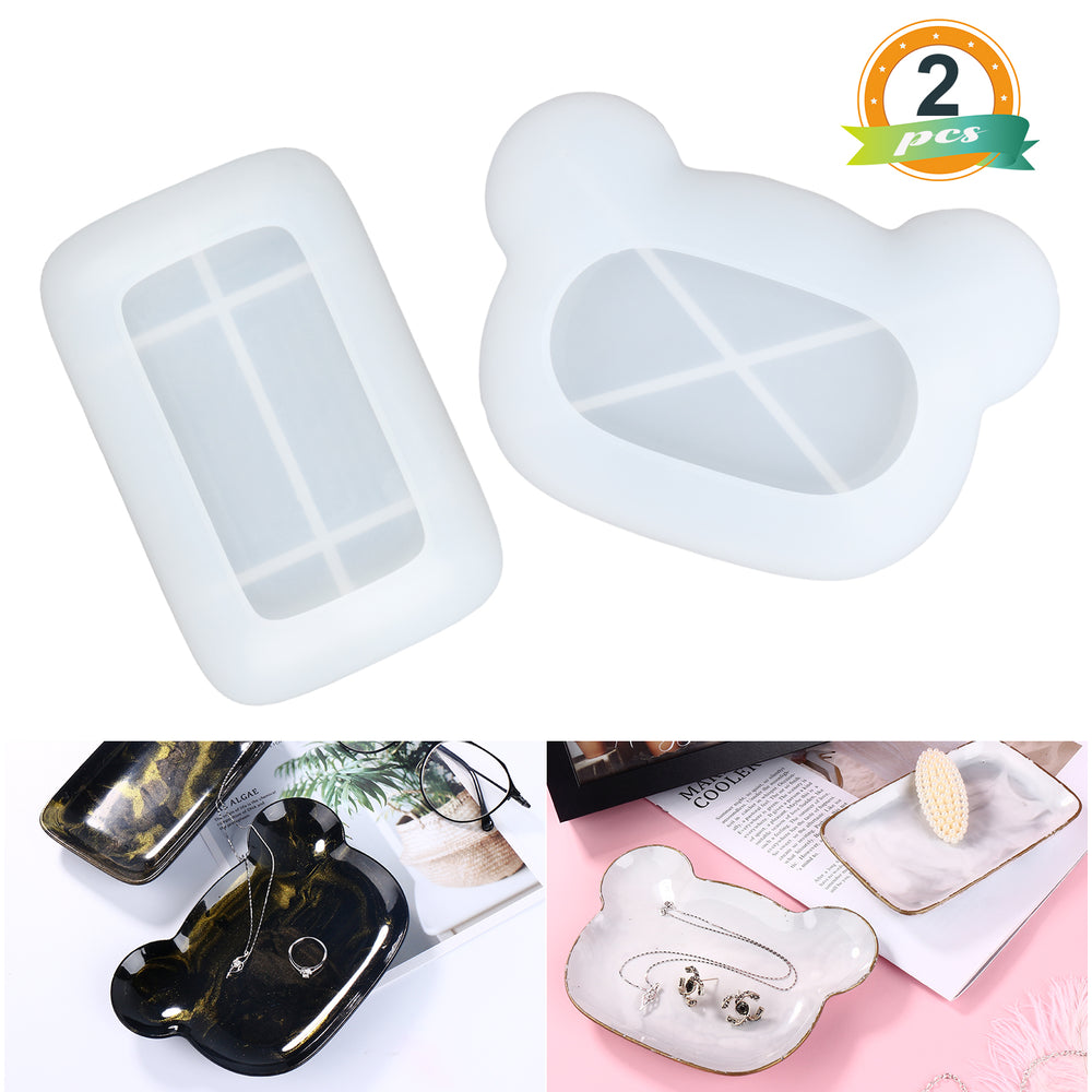 2Pcs Silicone Jewelry Dish Tray Molds Resin Trinket Tray Molds Trinket Dish Molds