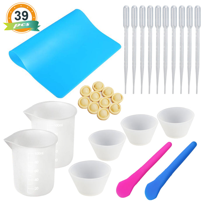 Silicone Mixing Cups for Resin 100ml with Silicone Mat, 2PCS Silicone Stir Stick,10 PCS Pipettes etc.