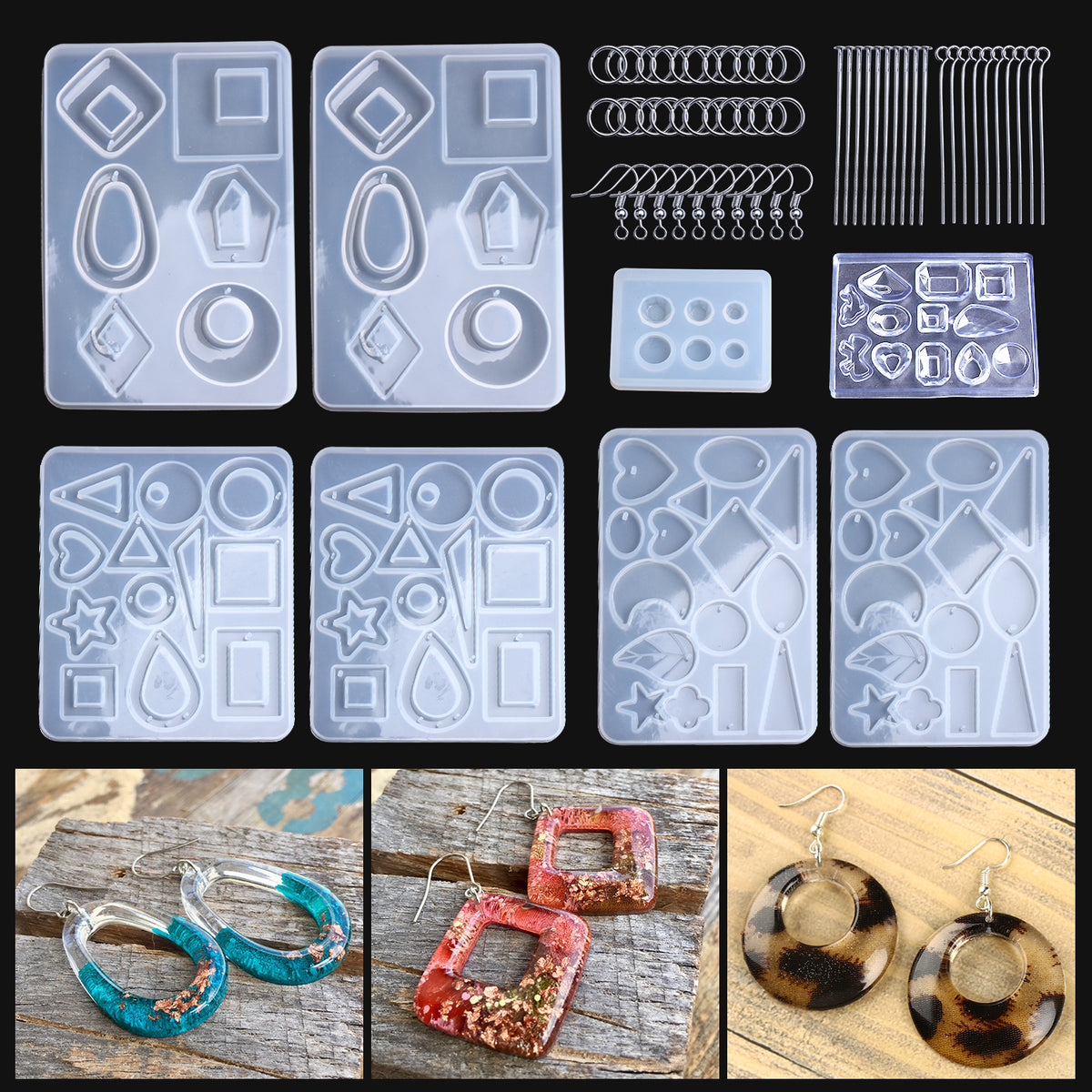 2Pcs Earring Resin Molds Bohemian Drop Dangle for Resin Casting Jewelry Making-Epoxy Resin Crafts DIY Crystal Epoxy Earrings Resin Mold Ear Hooks Pendant Silicone Mould Handmade Jewelry Making Tools