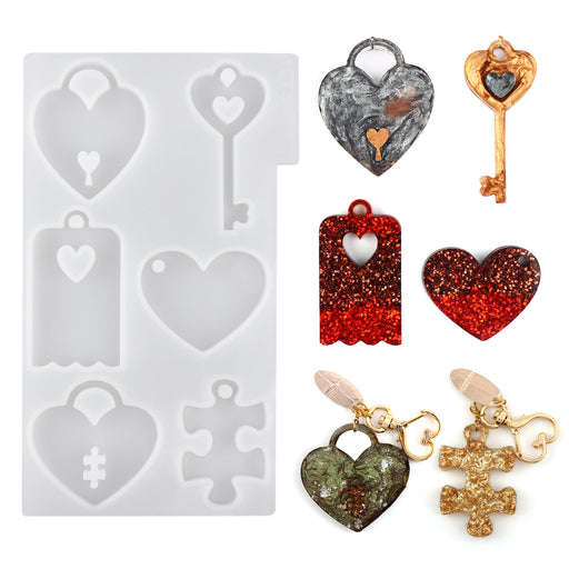 LET'S RESIN Couples Keychains Molds,Couple Necklace Pendant Molds