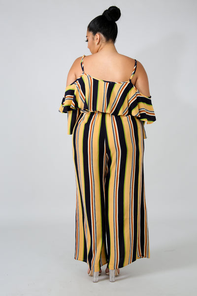 COLD SHOULDER FLARE STRIPE JUMPER