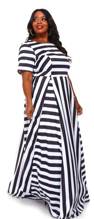 BLACK & WHITE STRIPED MAXI DRESS
