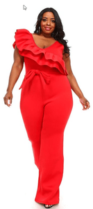RED RUFFLED JUMPSUIT