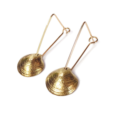 Brass Half Shell Earrings