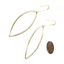 Load image into Gallery viewer, Brass Pointed Ellipse Earrings