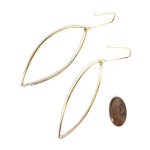 Brass Pointed Ellipse Earrings
