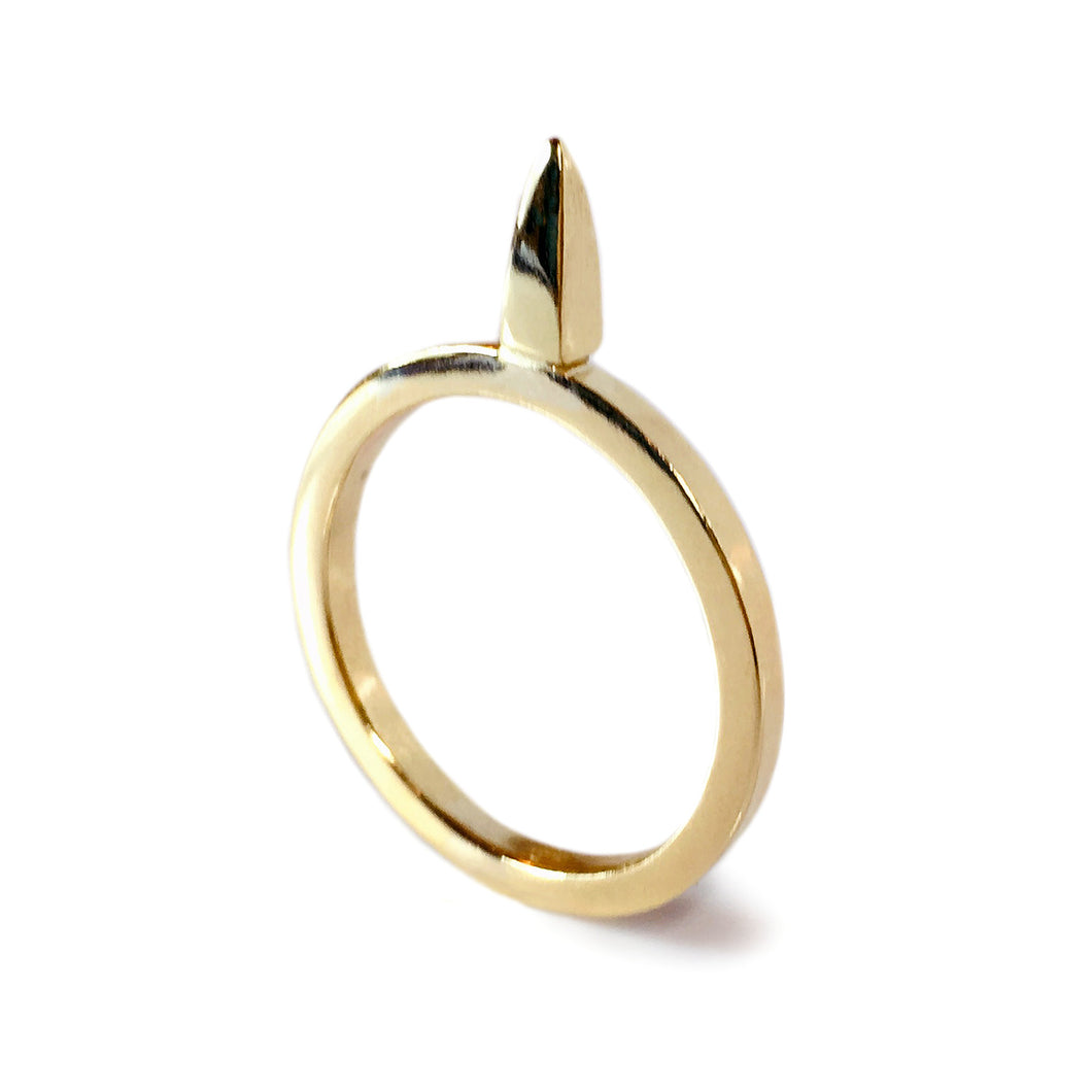 Brass Square Spiked Ring
