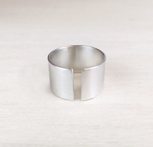 Brushed Silver Wide Band