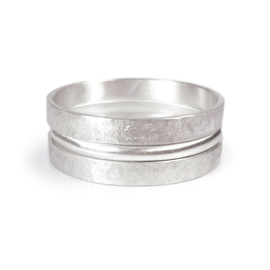 Three Textuerd Silver Rings