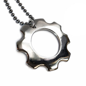 White Bronze Gear Necklace