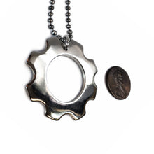 Load image into Gallery viewer, White Bronze Gear Necklace