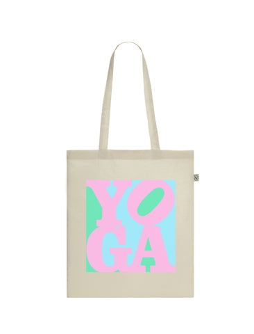 Yoga Pink Pop Art | 100% Organic Cotton Tote Bag