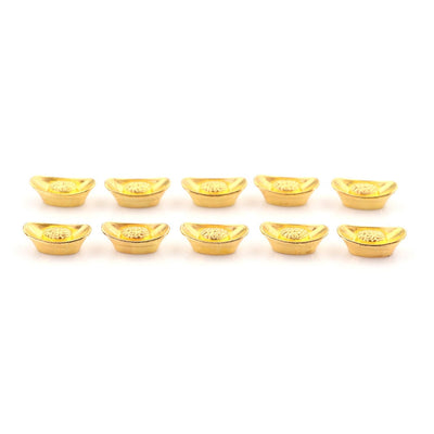 10pcs/set Chinese Gold Ingot Ornament Lucky Yuanbao Fengshui Decor Mascot Metal Crafts Feng Shui Auspicious Lucky Crafts