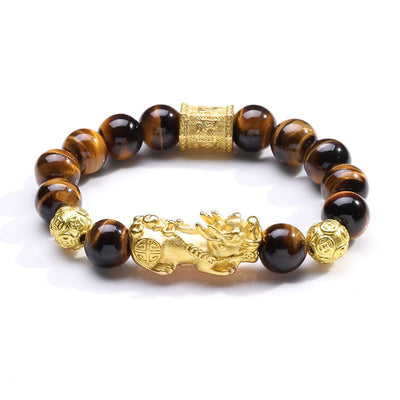 Natural Stone Beads Bracelet For Men With Alluvial Gold Color Pixiu Charm Six Words' Matra Beads Tiger Eyes Money Amulet