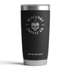 20 OZ TUMBLER WITH ENGRAVED SKULL LOGO IN BLACK