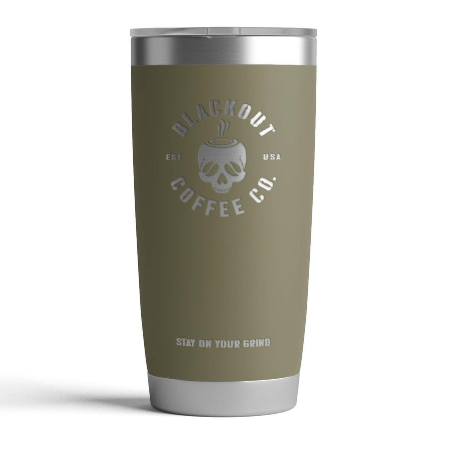 20 OZ TUMBLER WITH ENGRAVED SKULL LOGO IN HUNTER GREEN