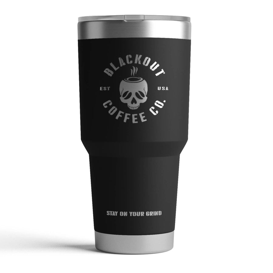 30 OZ TUMBLER WITH ENGRAVED SKULL LOGO IN BLACK