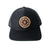 LEATHER PATCH TRUCKER HAT BLACK WITH BLACK MESH