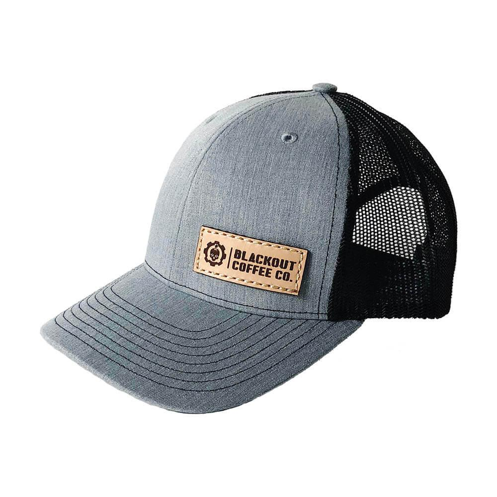 e495e35b50c8b LEATHER PATCH TRUCKER HAT GRAY WITH BLACK MESH - Blackout Coffee Co