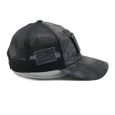 PYTHON BLACK CAMO HAT WITH AMERICAN FLAG PATCH