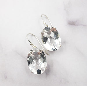 Oval Ice Quartz Earrings
