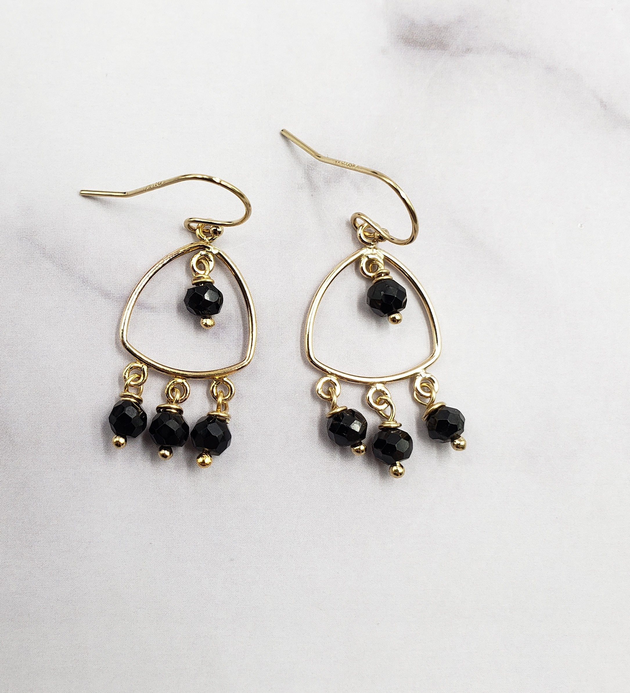 Boho Black Spinel Earrings