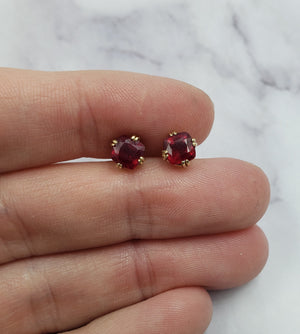 14k Cushion Ruby Studs