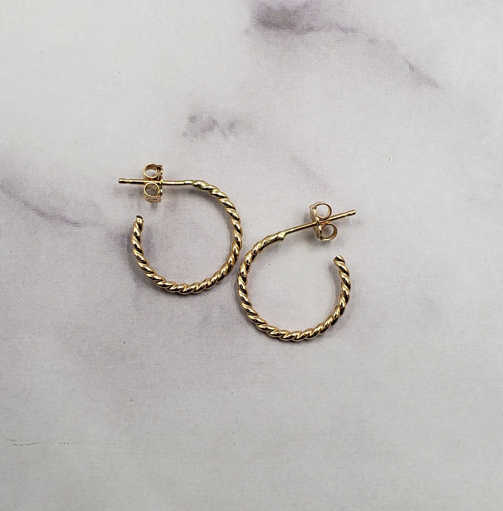 Gold Filled Rope Hoops
