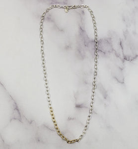 "18"" Mixed Metals Skinny Oval Chain"