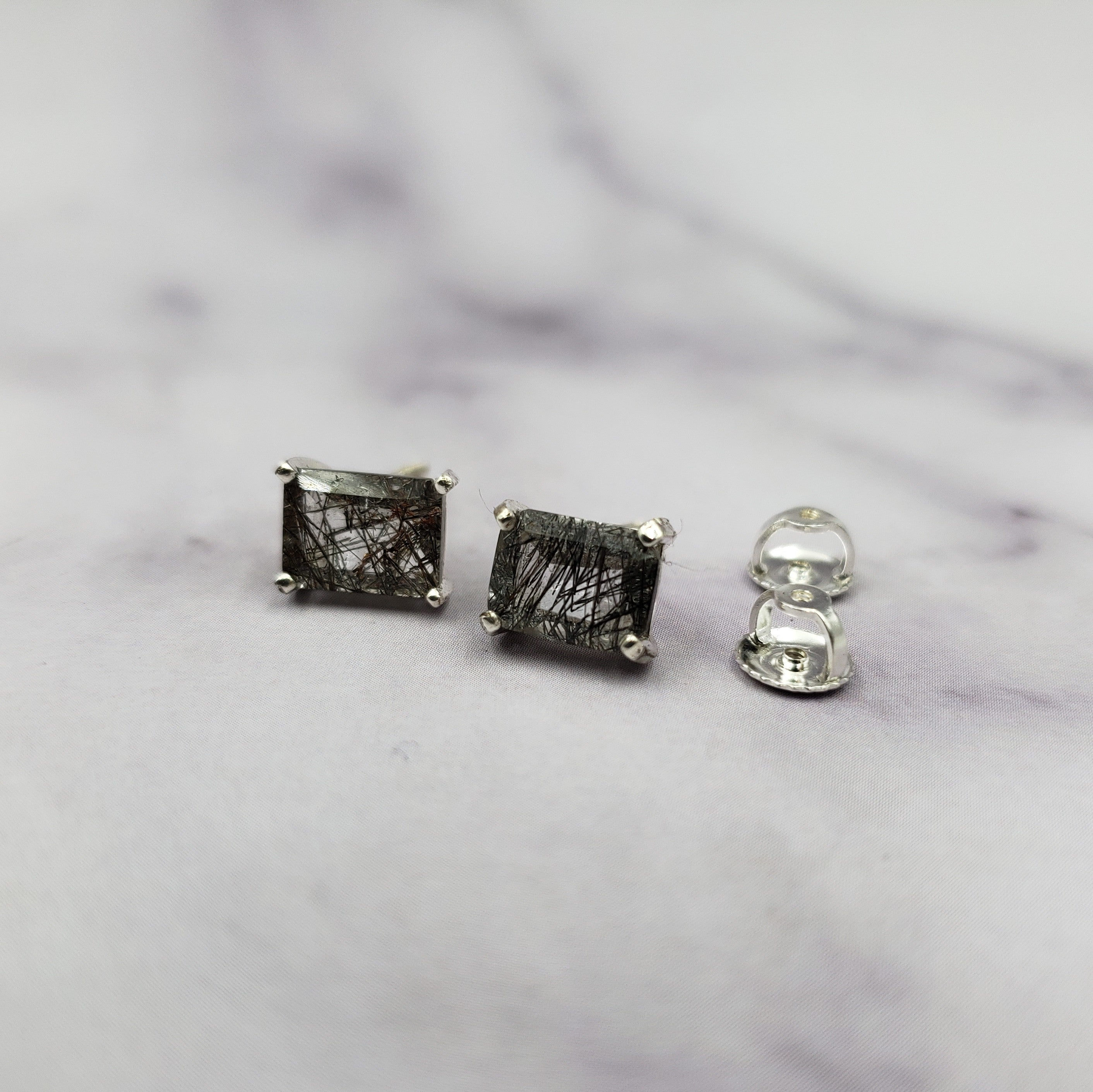 Rutilated Quartz Emerald Cut Studs