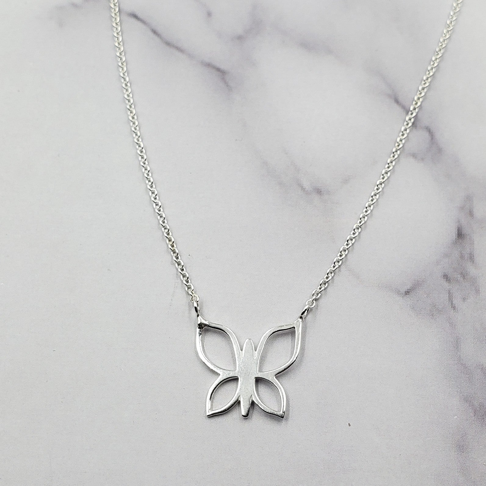 Sterling Butterfly Shiloutte Necklace