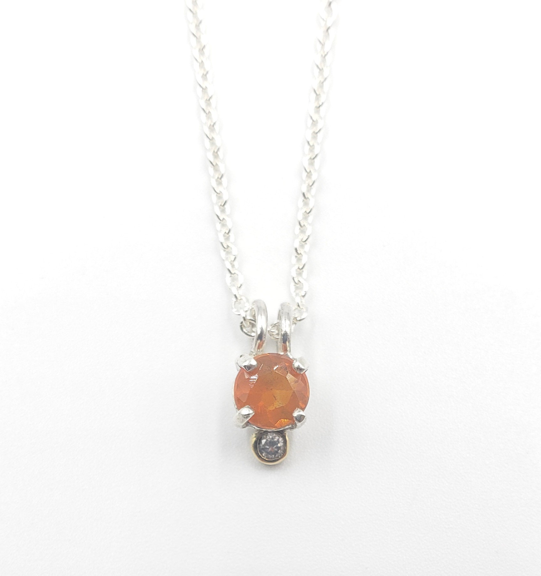 Fire Opal & Diamond Necklace