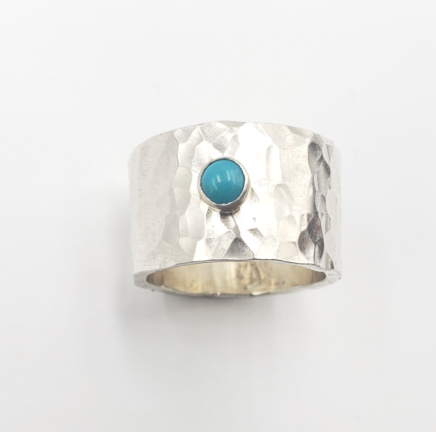 Hammered Cigar band with Turquoise