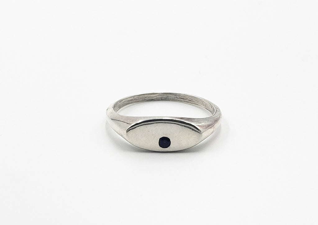 Skinny Oval Signet Ring with Blue Sapphire