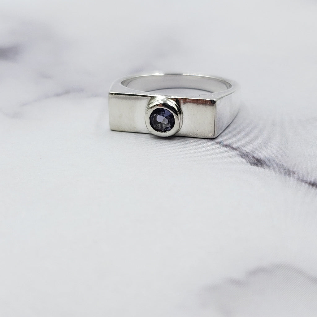Iolite Rectangle Signet Ring