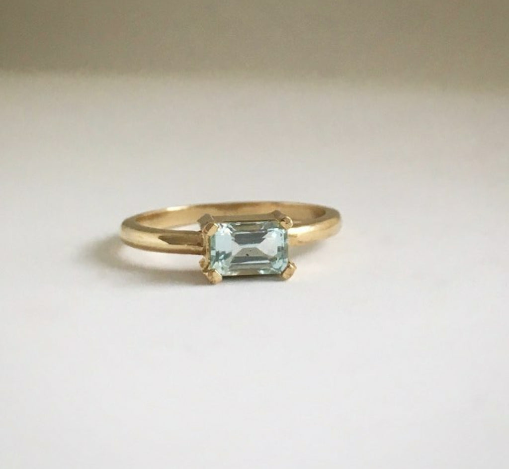 Aquamarine Gold Emma Ring