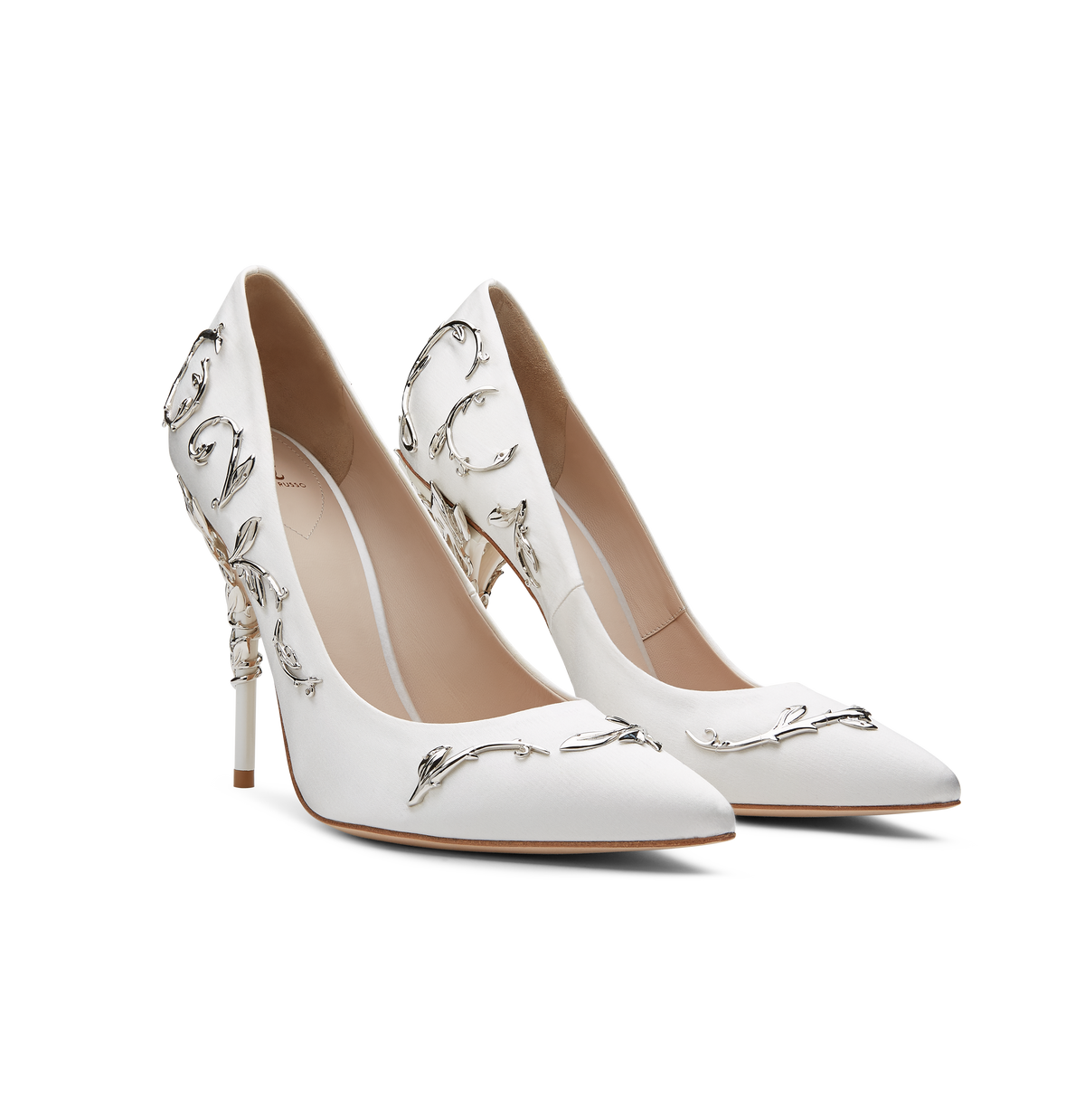White Satin Eden Pumps with Silver Leaves
