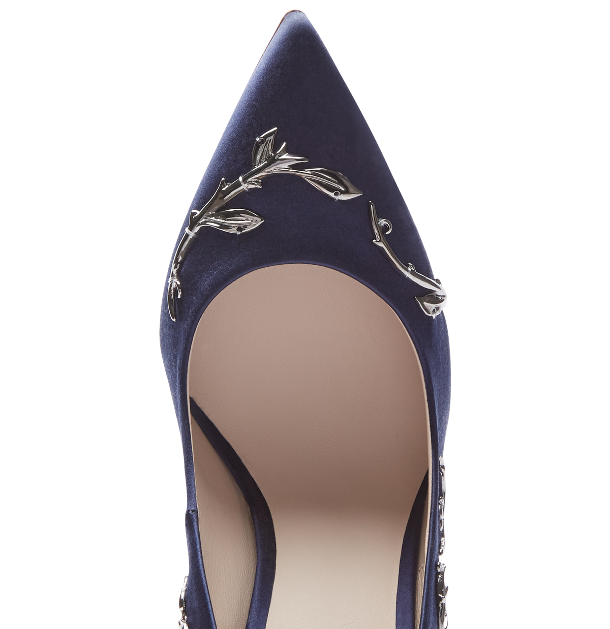 Midnight Blue Satin Eden Heels with Gunmetal Leaves