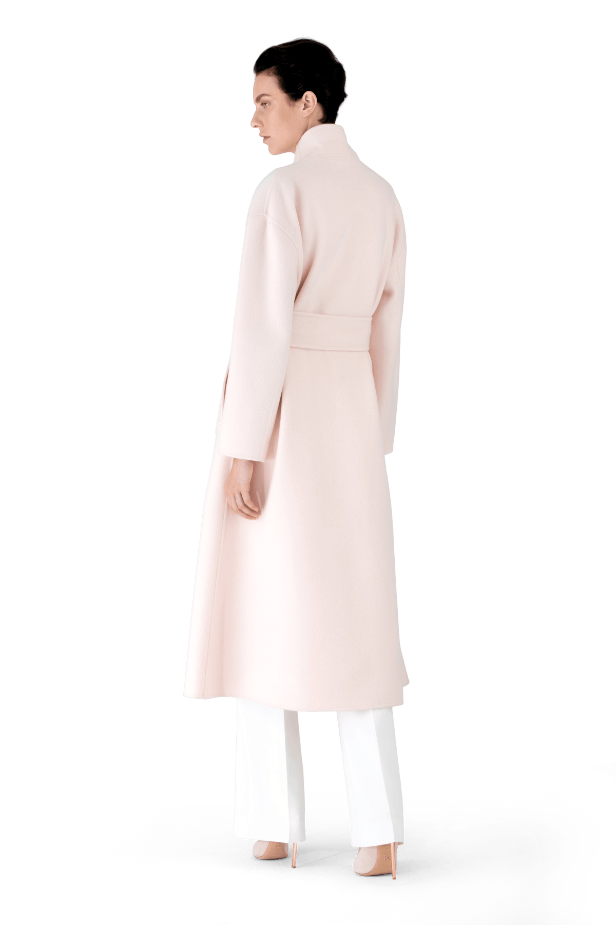 Powder Pink Wool Cashmere A-Line Trench Coat