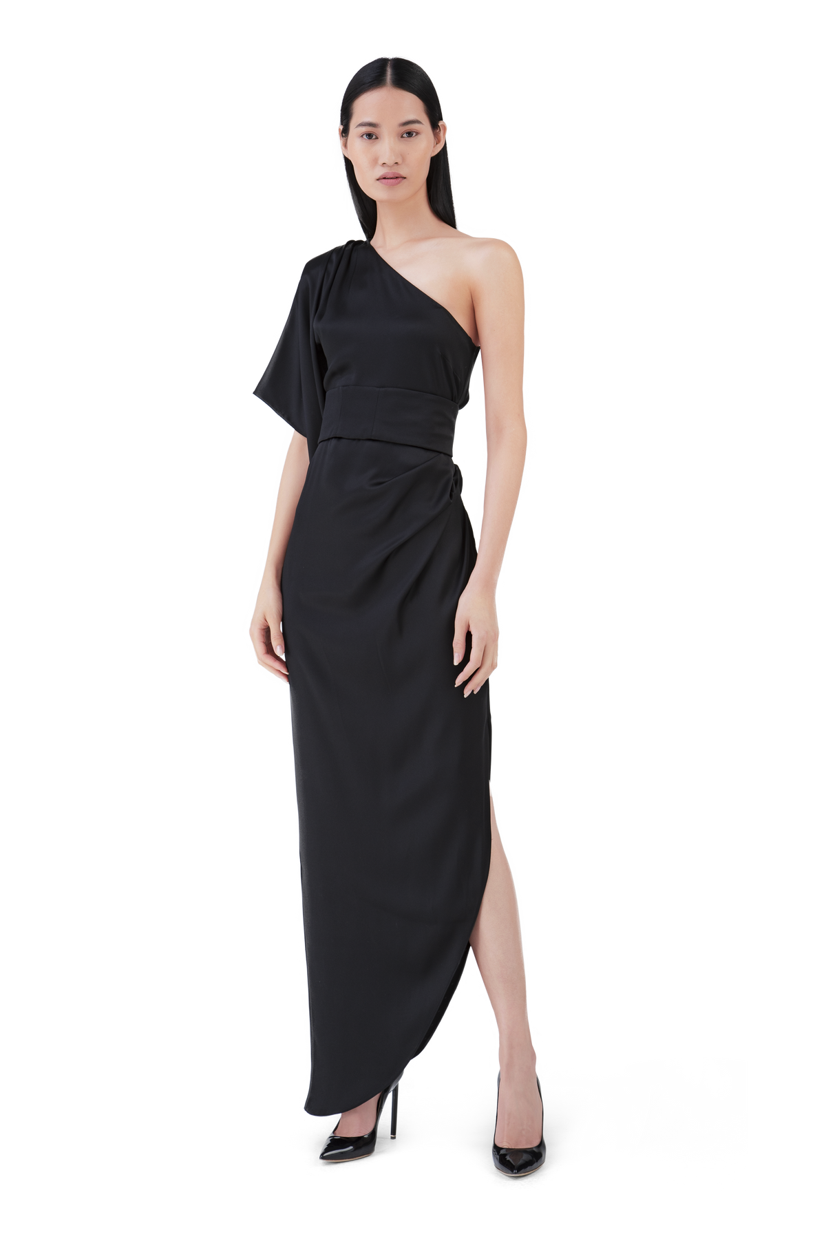 Black Double Satin Asymmetric Dress