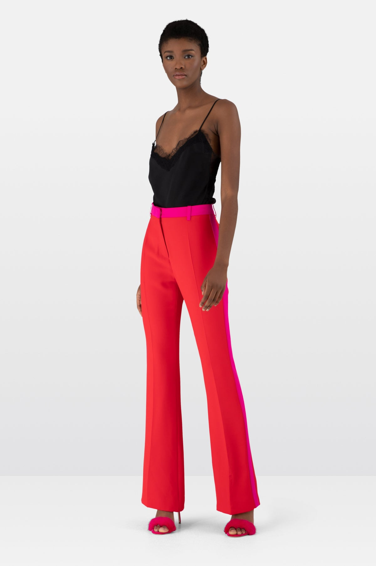 Red Silk Crepe Trousers